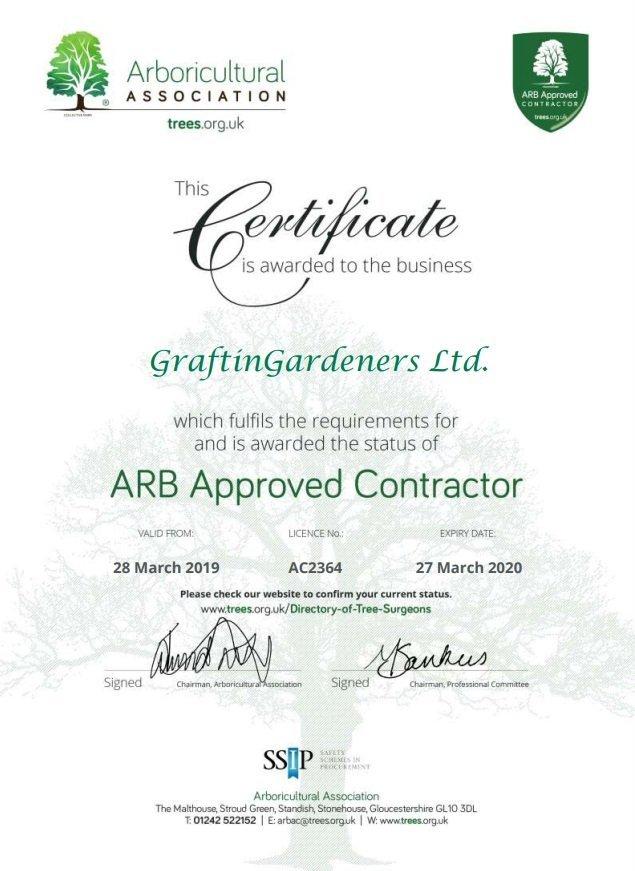 Arboriculture Association Certificate