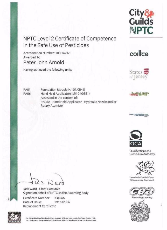 NPTC L2 Cert Pesticide