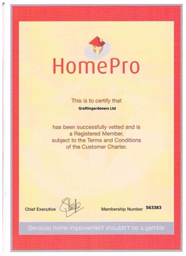 homepro certificate